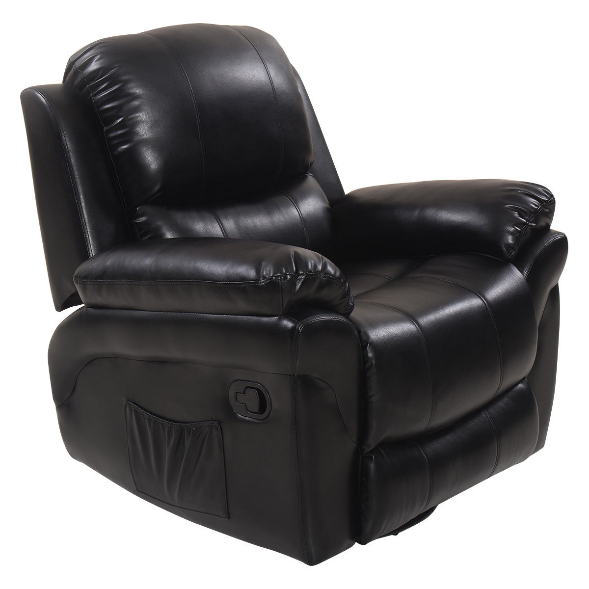 Gymax Ergonomic Massage Sofa Recliner Chair Rocking Lounge Heated Swivel