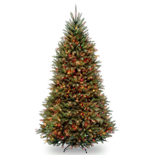 National Tree Pre-Lit 9' Dunhill Fir Hinged Artificial Christmas Tree with 900 Multi Lights