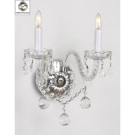 Schonbek Crystal Sconce - Murano Venetian Style All Crystal Wall Sconce With Crystal Balls!