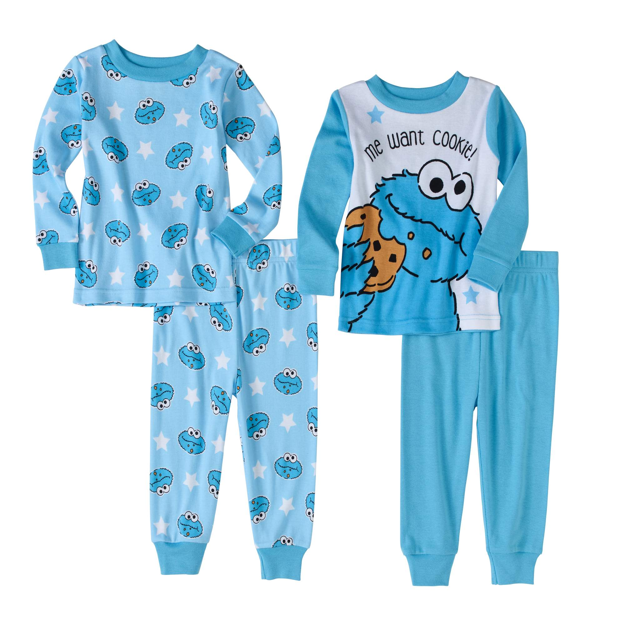 Sesame Street Baby Boys' Cookie Monster Cotton Tight Fit Pajamas, 4-Piece Set