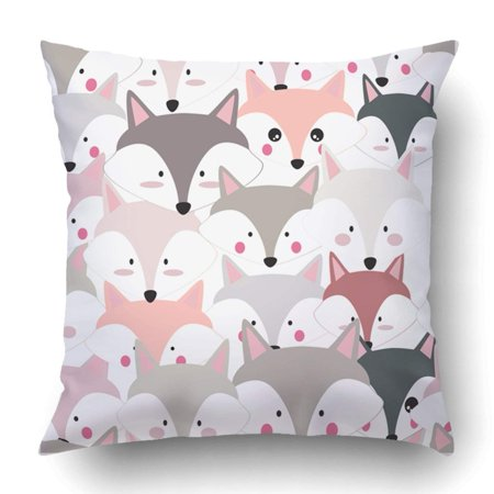 ARTJIA comic cartoon cute baby dog puppy fox or wolf pink and grey pastel colorful Pillowcase Throw Pillow Cover Case 20x20 inches ()