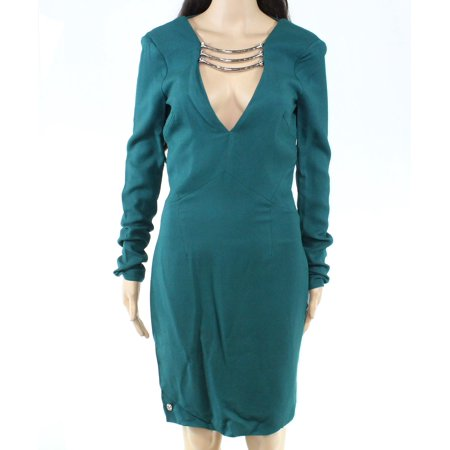 Womens Dress Medium Sheath Hardware V-Neck M