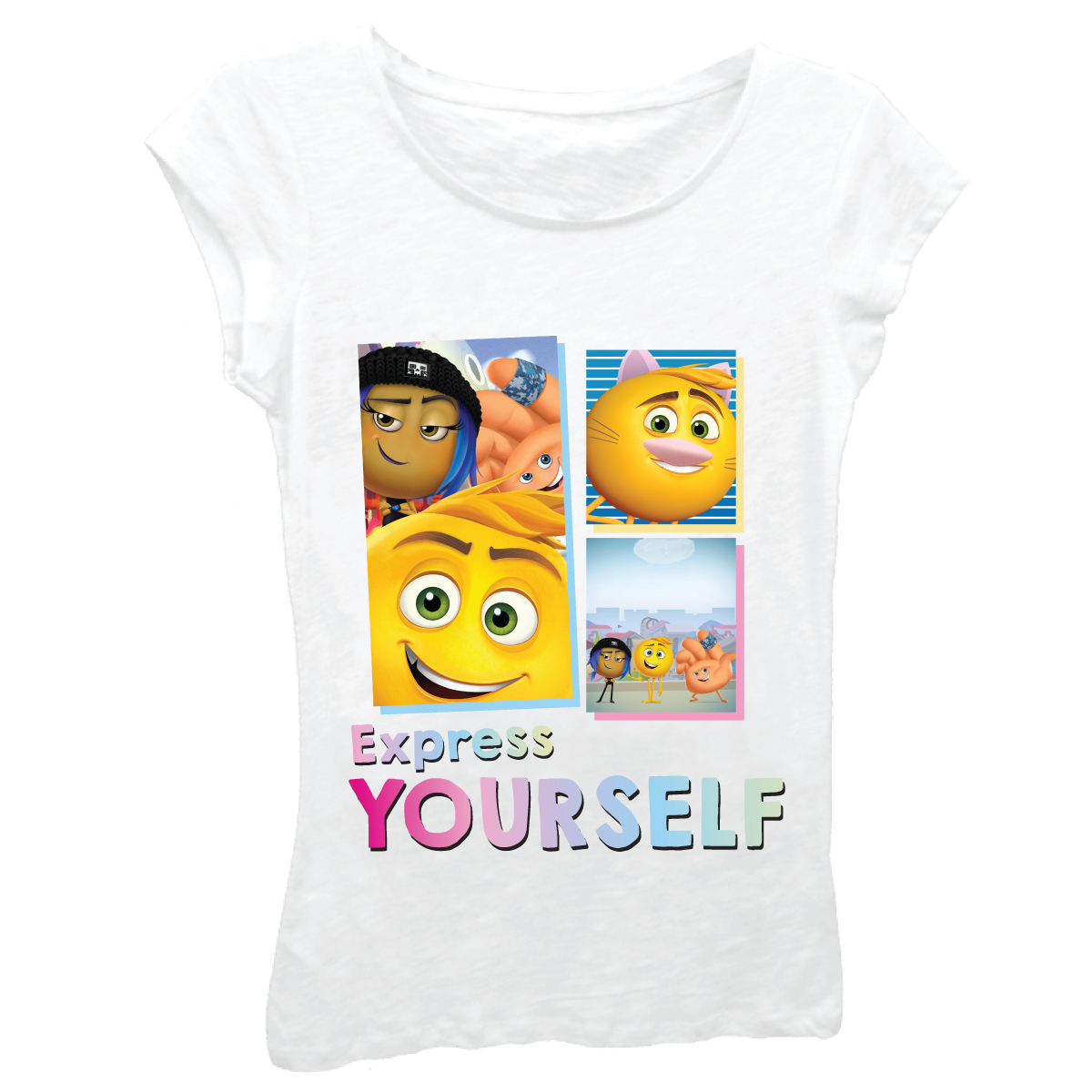 "The Emoji Movie Girls' ""Expresss Yourself"" Short Sleeve Graphic T-shirt With Crystalline"