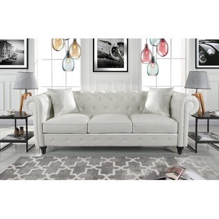 Classic Living Room Bonded Leather Scroll Arm Chesterfield Sofa (White)