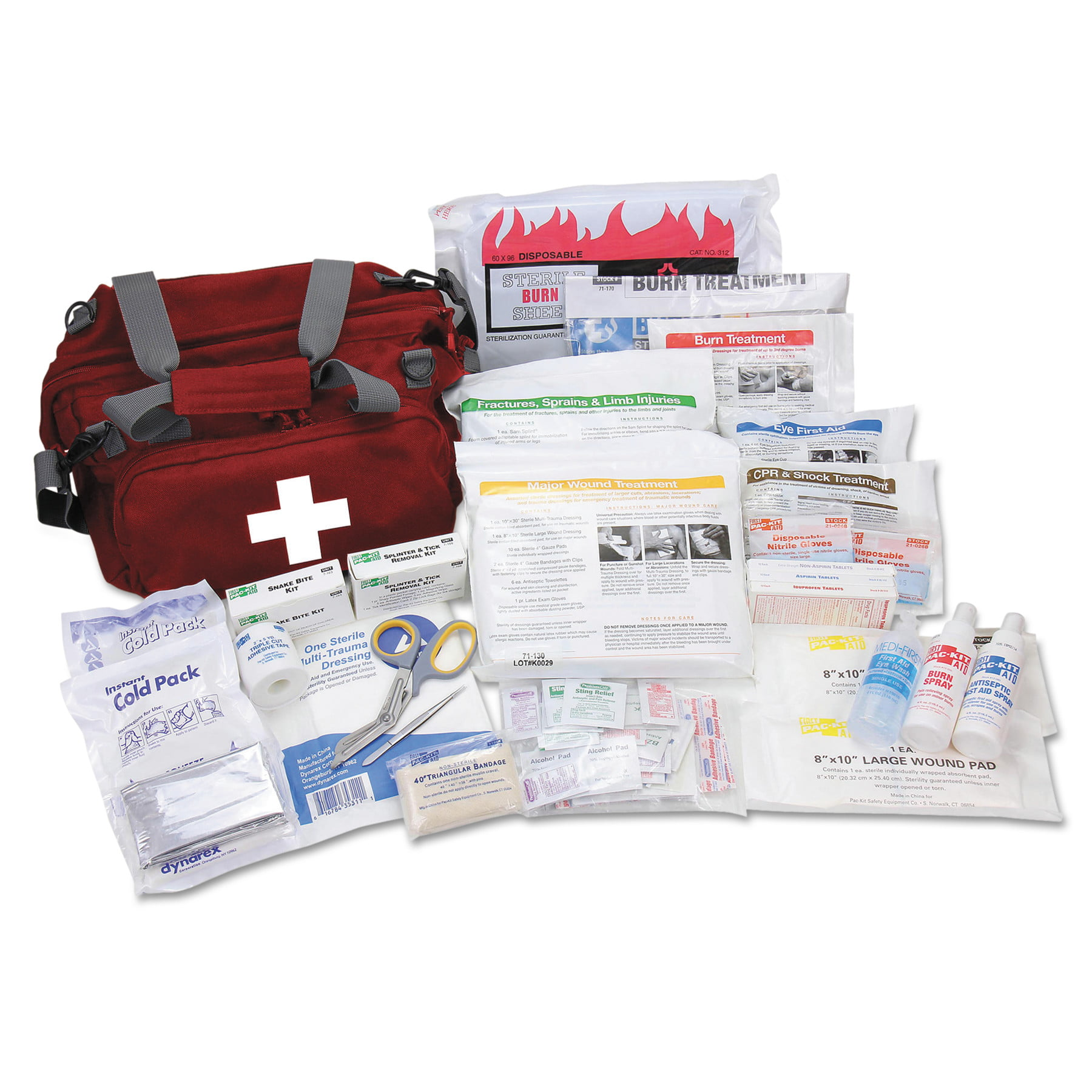 Pac-Kit All Terrain First Aid Kit, 112 Pieces, Ballistic Nylon, Red by ACME UNITED CORPORATION