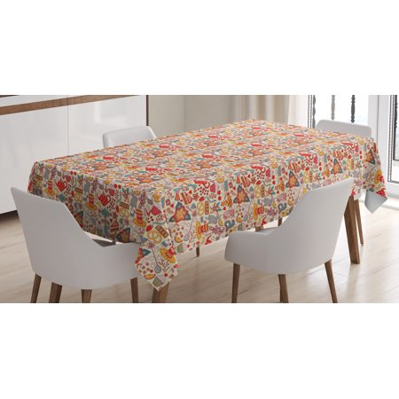 Tea Party Tablecloth, Colorful Abstract Motifs Birds Bunnies Pretzel Sugar Cubes and Flowers Pattern, Rectangular Table Cover for Dining Room Kitchen, 60 X 84 Inches, Multicolor, by Ambesonne