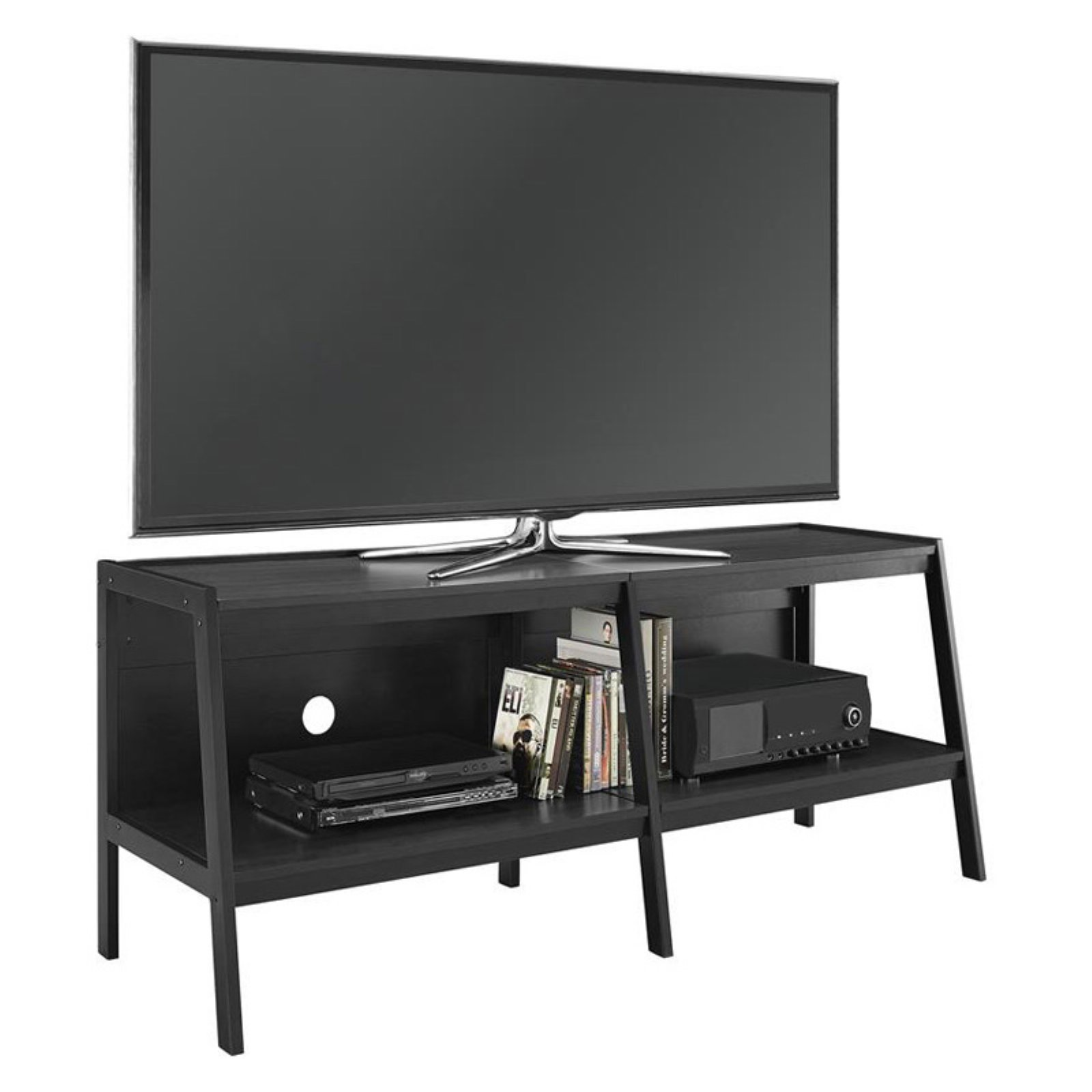 Ameriwood Home Lawrence 60 Ladder Tv Stand Black Walmart Com