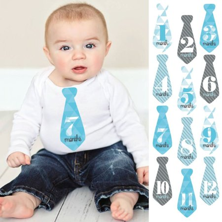 Geometric Blue & Gray - Tie Baby Boy Monthly Stickers - Baby Shower Gift Ideas - Necktie 12 Piece](1980s Outfit Ideas)