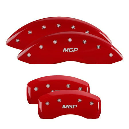MGP 4 Caliper Covers Engraved Front & Rear MGP Red finish silver (Caliper Covers Satin)