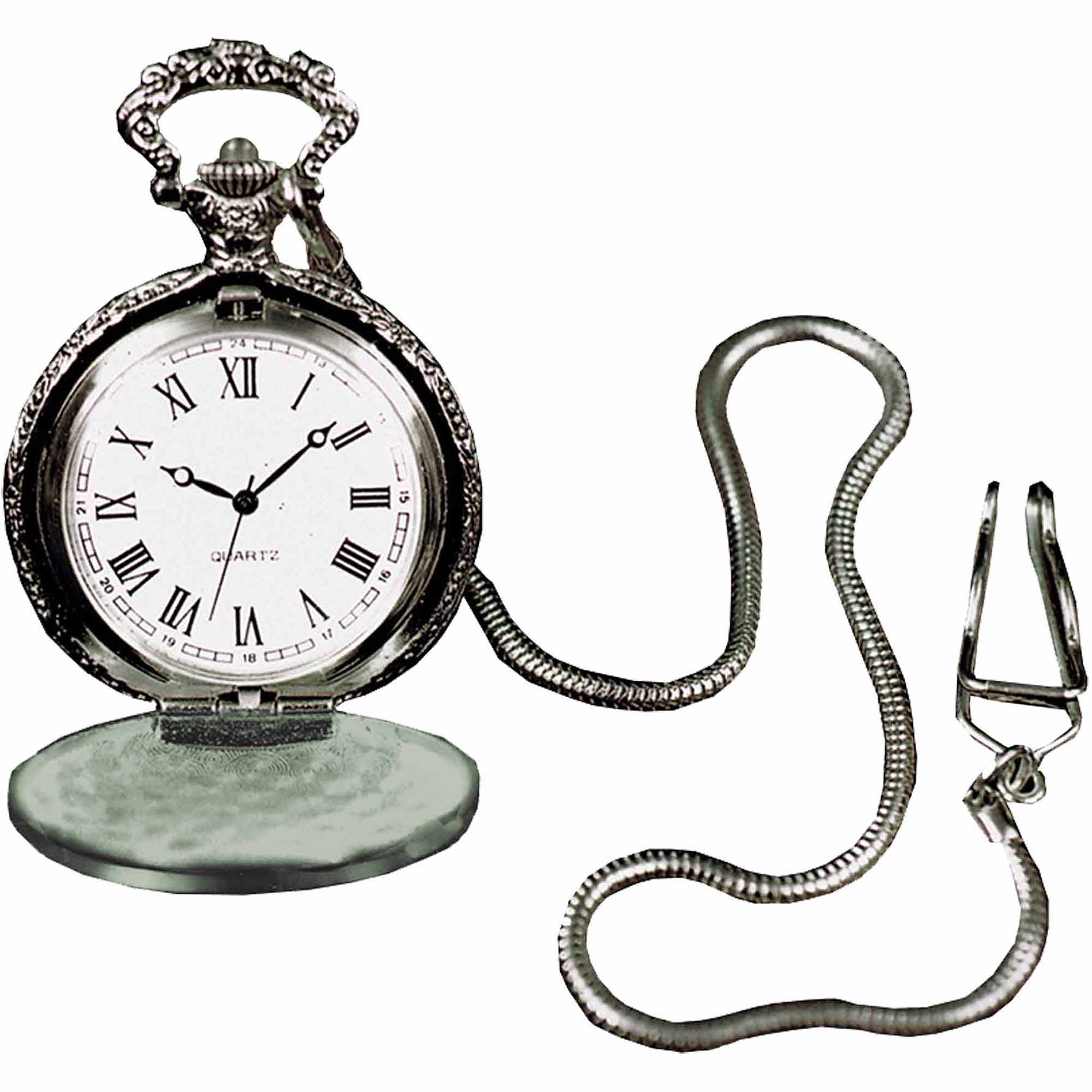 Pocket Watch with Silver-Tone Chain Adult Halloween Accessory