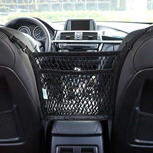 AMEIQ 2-Layer Car Mesh Organizer, Seat Back Net Bag, Barrier of Backseat Pet Kids, Cargo Tissue Purse Holder, Driver... by