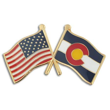 PinMart's Colorado and USA Crossed Friendship Flag Enamel Lapel Pin (Colorado Lapel Pin)