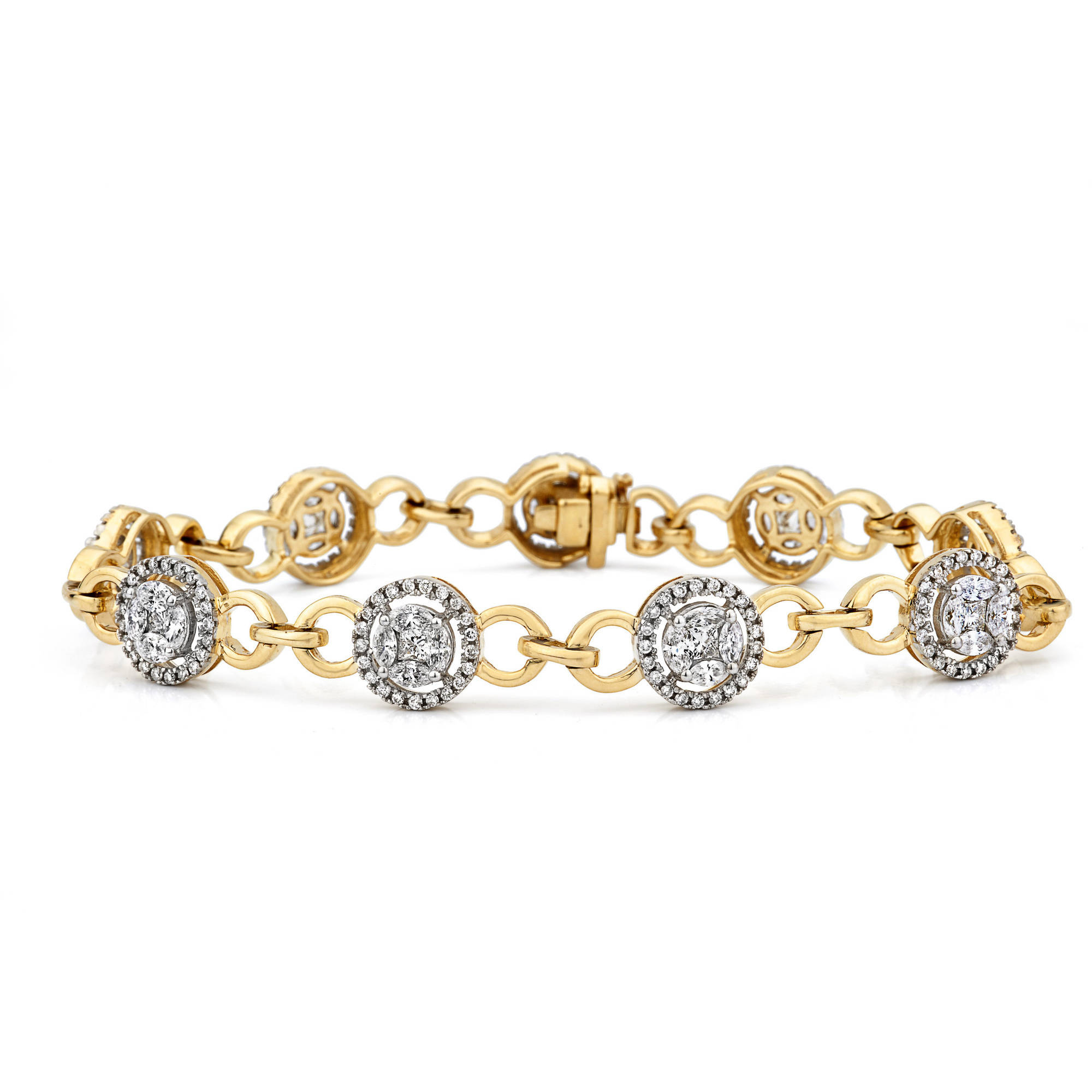 3 Carat T.W. Marquise- and Princess-Cut Diamond 14kt Yellow Gold Bracelet with Circular Clusters by Generic