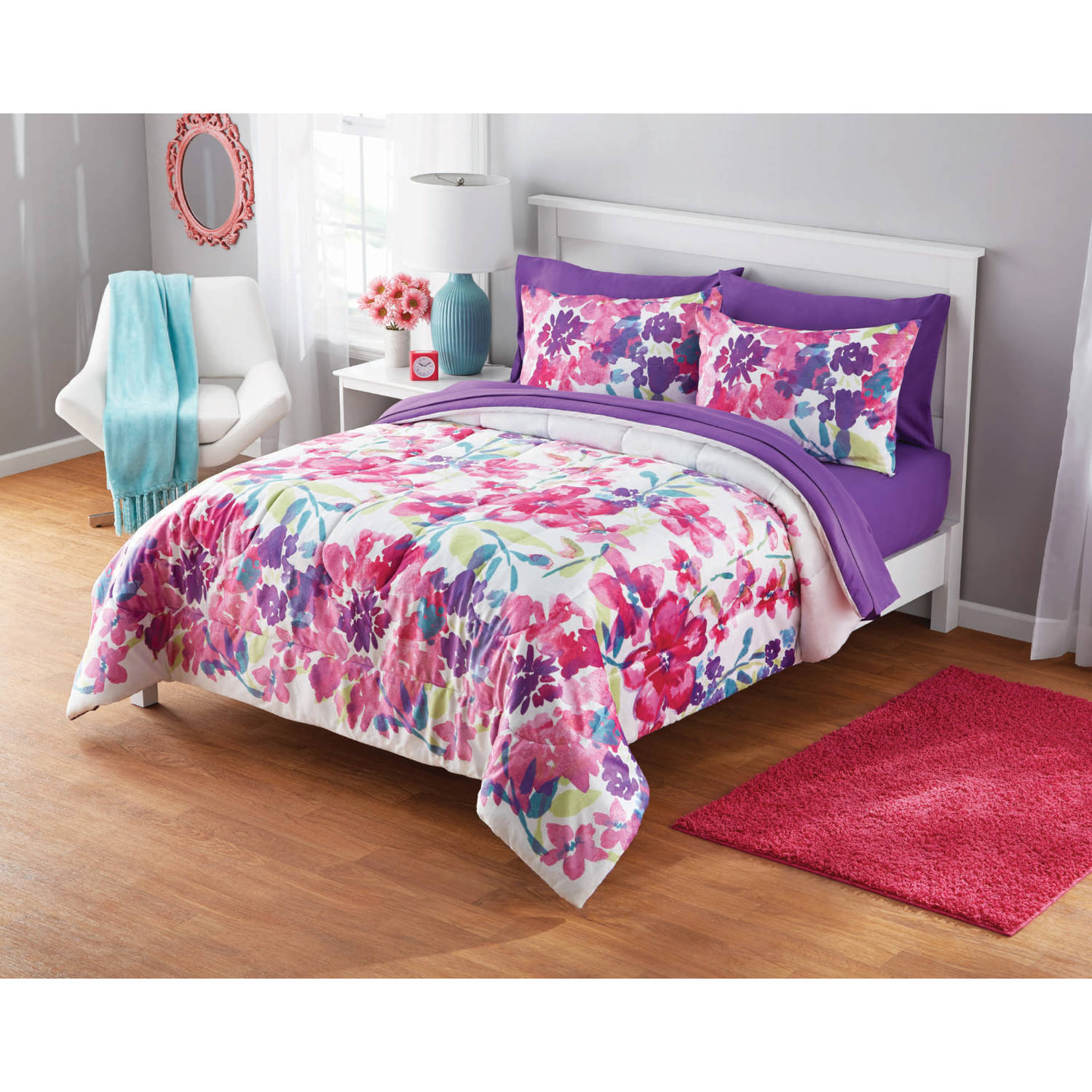 Your Zone Adelaine Watercolor Floral Mink Plush Comforter Set