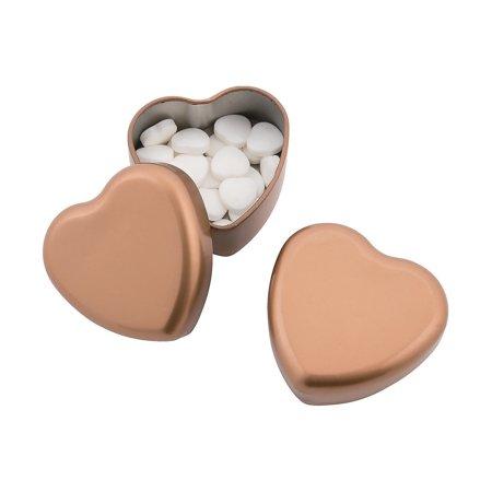 Fun Express - Gold Heart Shaped Mint Tin for Wedding - Edibles - Mints - Mint Tin & Matchbook - Wedding - 24