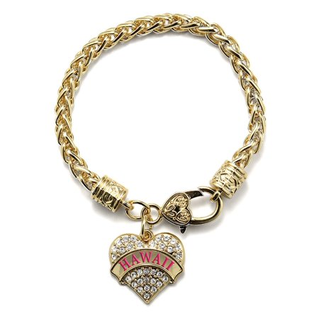 - Hawaii Gold Pave Heart Charm Bracelet