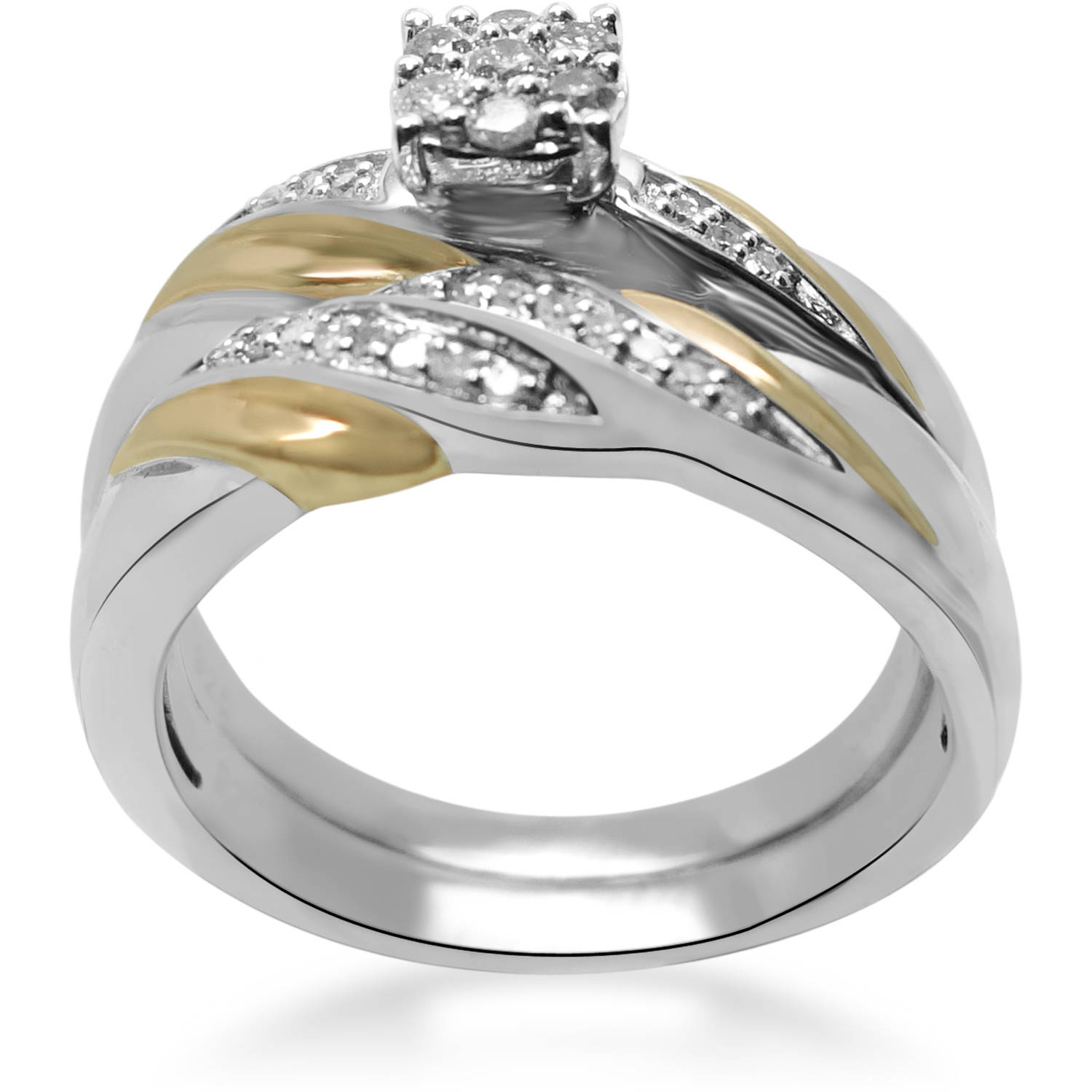 Forever Bride 1/5 Carat T.W. Diamond Sterling Silver Gold-Plated Bridal Set