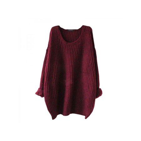 Lavaport Women Casual Oversized Knitted Sweater Crew Neck Loose Tops Long Sleeve ()