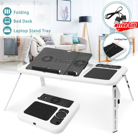 - Portable Adjustable Folding Laptop Notebook Computer Desk Table Universal E-Table Holder Heat Radiation Home Sofa Couch Bed Tray Office Carpet (With Cooling Fans Stand + USB Cable)
