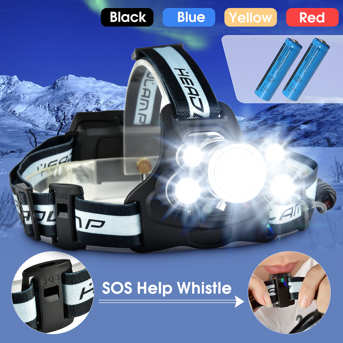 5000Lumens USB Rechargeable Headlight Headlight 5x T6 LED Head Torch 5 Modes with SOS Help Whistle + 18650 Battery for Night Light Emergency Light