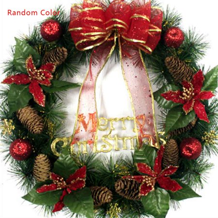 Happy Holidays Wreath - Holiday Time Christmas Wreath with Bow Handcrafted Elegant Holiday Wreath for the Front Door