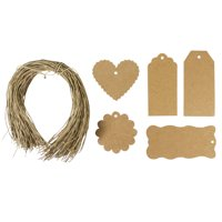 Wrapables® 100 Gift Tags/ Kraft Hang Tags with Free Cut String for Gifts, Crafts, & Price Tags