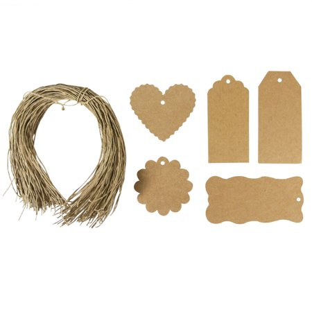 Wrapables® 100 Gift Tags/ Kraft Hang Tags with Free Cut String for Gifts, Crafts, & Price Tags ()