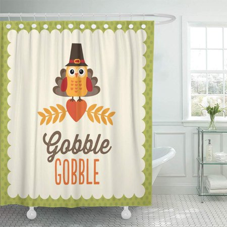 Paper Pilgrim Hat (PKNMT Happy Retro Thanksgiving Day with Cute Little Owl in Pilgrim Hat and Turkey Bathroom Shower Curtains 60x72)