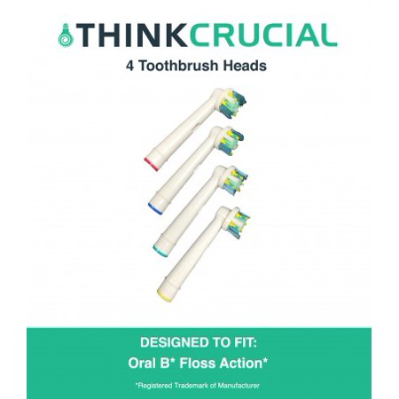 4 Oral-B Floss Action Electric Toothbrush Head Replacements, Part # EB-25A
