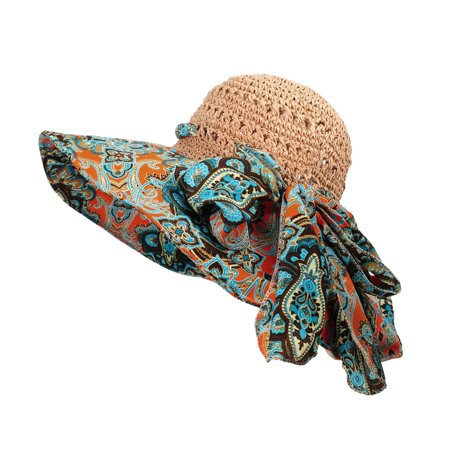 WITHMOONS Women Floral Paisley Paper Straw Floppy Hat Beach Cap DW9741 (Orange)