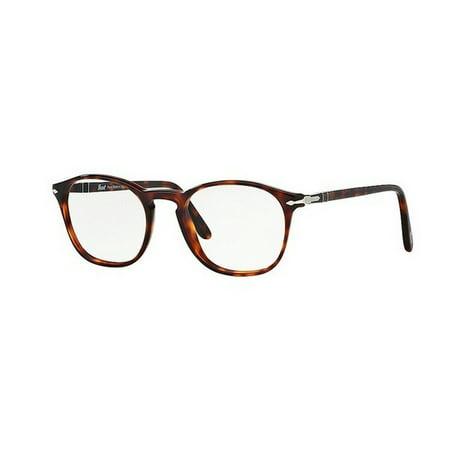 Persol Men's PO3007V 24 52 Square Plastic Havana Clear Eyeglasses