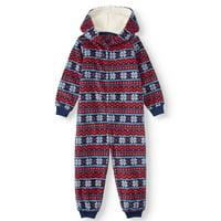 Matching Family Pajamas Toddler Unisex Fair Isle Union Suit Hooded Microfleece Blanket Sleeper