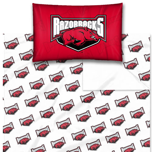 NCAA Arkansas Razorbacks Logo Twin-Single Bed Sheet Set