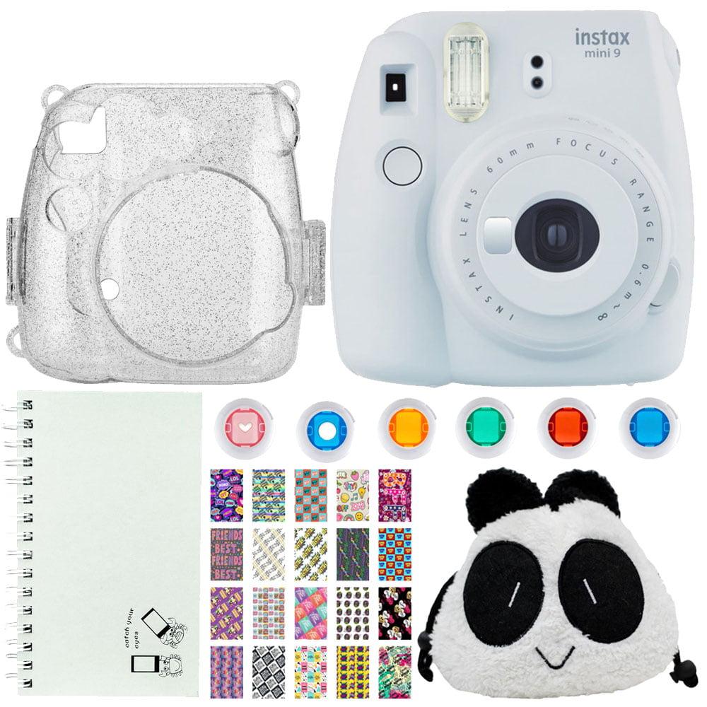 Dream Gift! Fuijfilm Instax Mini 9 Instant Film Camera White + Trendy Panda Bag – Camera/Accessories + Scrapbook Album + Glitter Silver Camera Case + BFF Designed Photo Frames + Colored Lens Filters