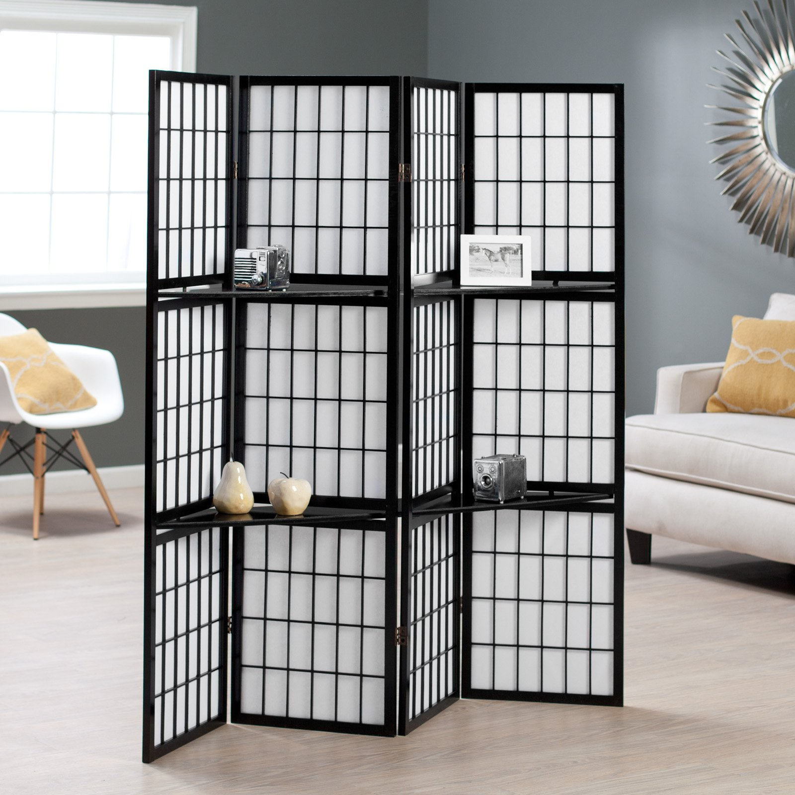 Black Shoji 4-Panel Screen Room Divider with Display Shelves - Walmart.com & Black Shoji 4-Panel Screen Room Divider with Display Shelves ...