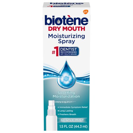 Biotene Gentle Mint Moisturizing Mouth Spray, Sugar-Free, for Dry Mouth and  Fresh Breath, 1 5 ounce
