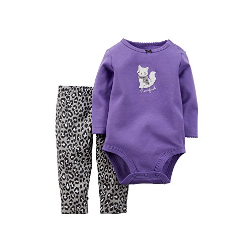 Carter's Baby Girls' 2-Piece Bodysuit and Pant Set (Newborn, Purrfect Purple)