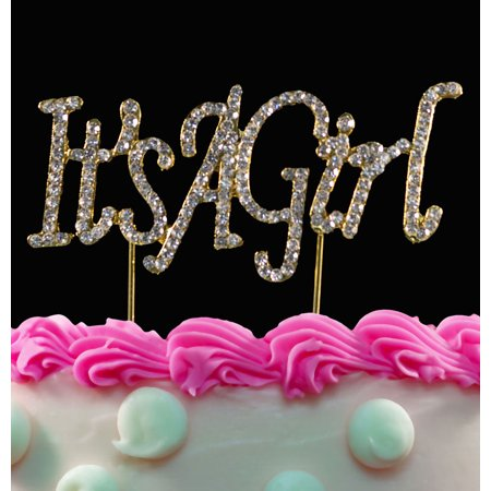 Gold Girl Bling Crystal It's a Girl Baby Shower Cake Toppers](Baby Shower Girl Cakes)