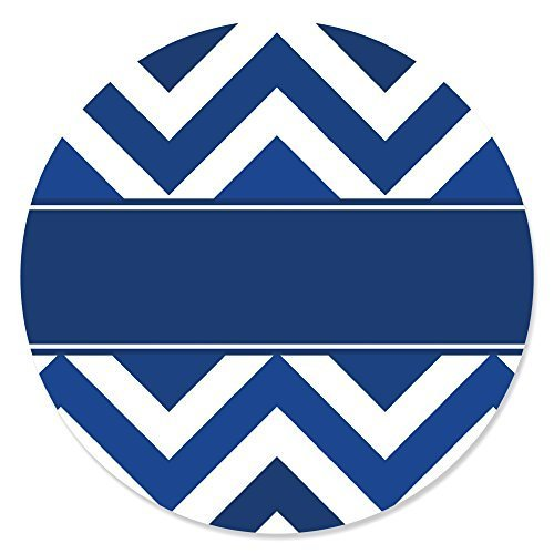 Chevron Navy - Party Circle Sticker Labels - 24 Count