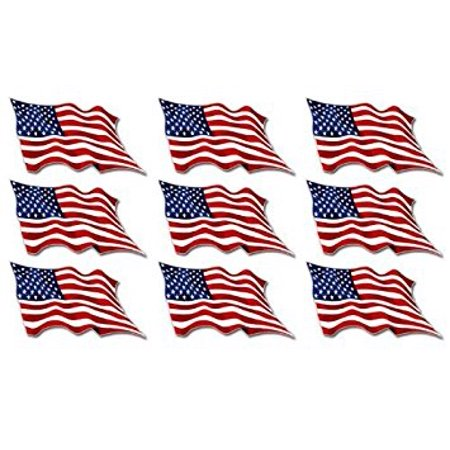 Sheet of 9: USA Waving Flag Sticker Decal ics (american us scrapbook decals) Size: 1 x 2 inch 1 Flag Decal