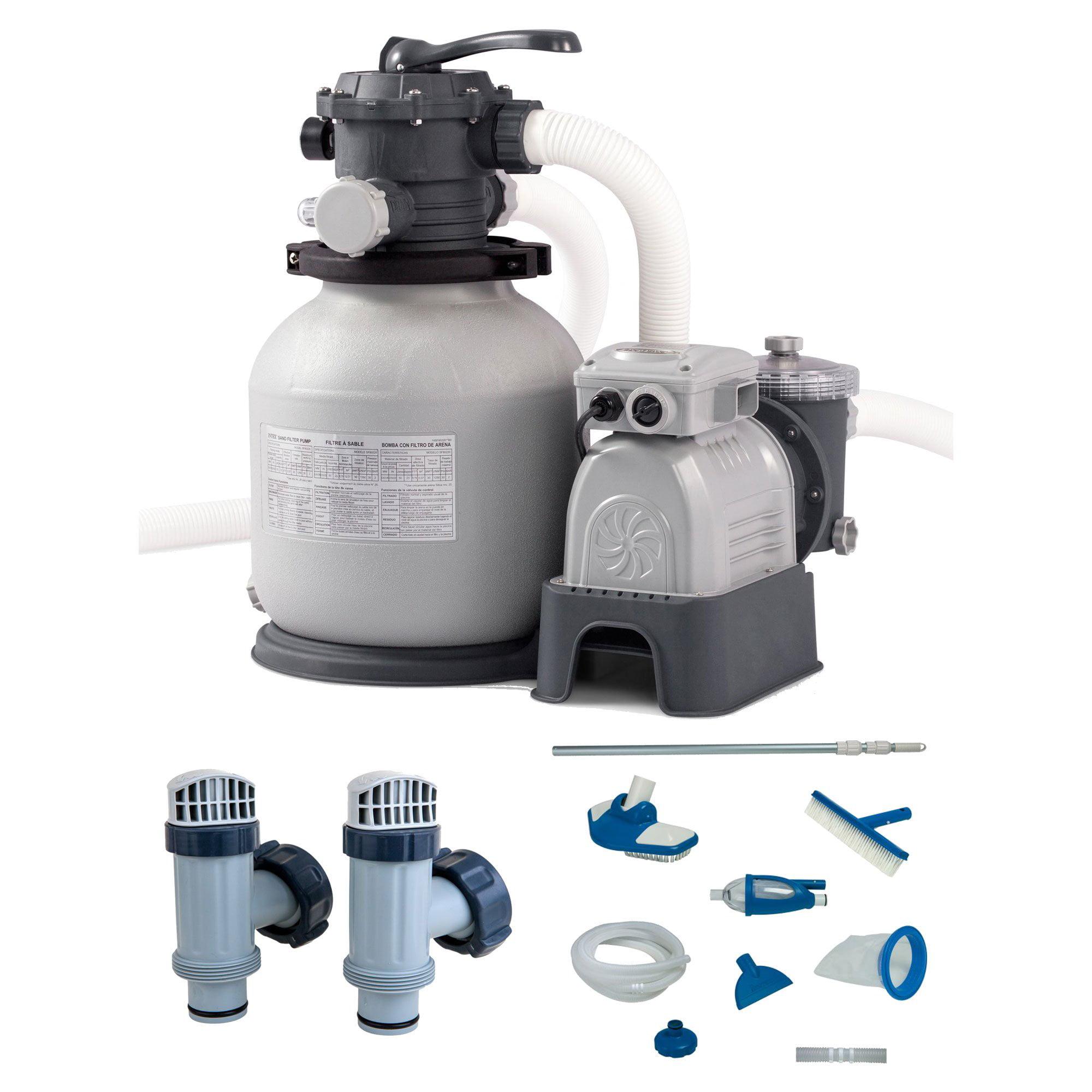 Intex Krystal Clear Sand Filter Pump & Plunger Valves (2 Pack) & Maintenance Kit
