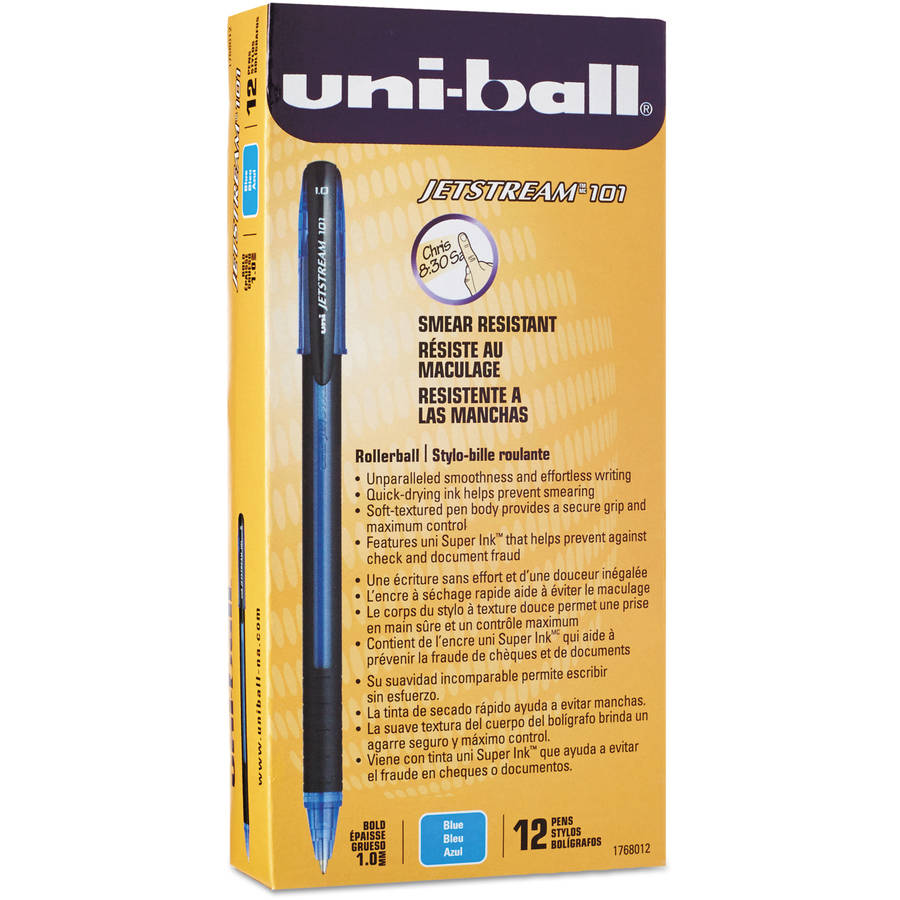 Uni-ball Jetstream 101 Roller Ball Stick Water-Resistant Pen, Blue Ink, Medium, 12pk