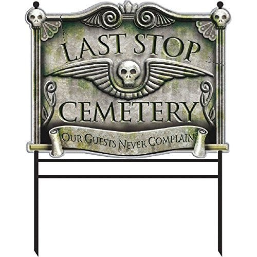 "Amscan Haunted Mansion Halloween Party ""Last Stop"" Yd. Stake Decoration, Grey, 30 3/4"" X 25"""