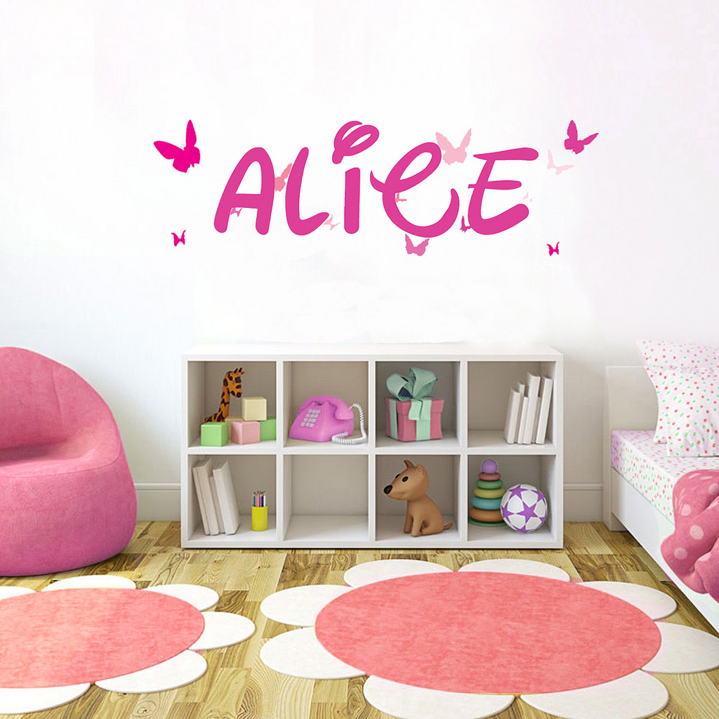"Pink Butterfly Font2 h4"" Made-to-Order Baby Name Kid Room Nursery Wall Art Clear Vinyl décor Decal Sticker"