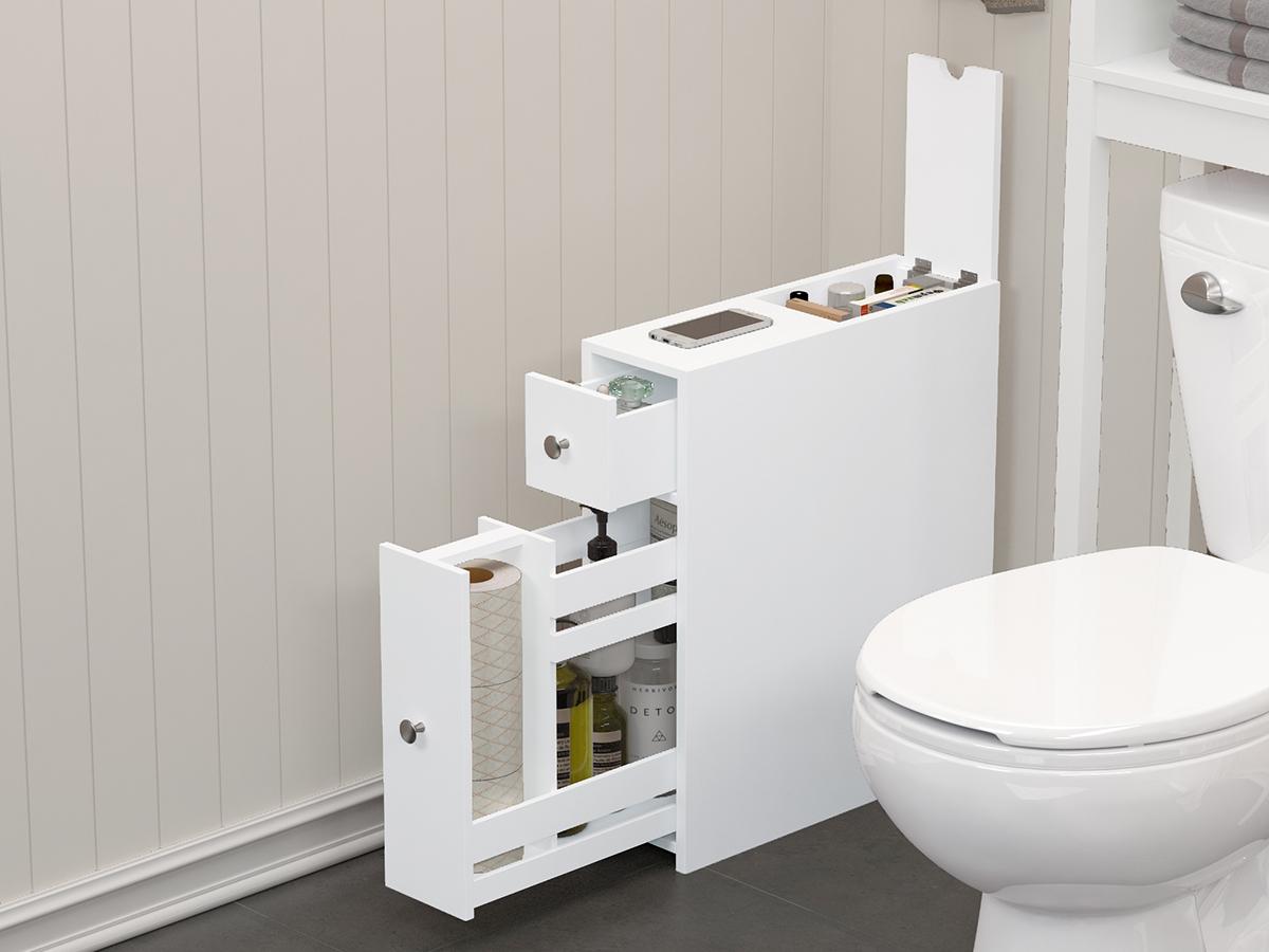 Narrow Cabinet Bathroom Toilet Storage Cabinet Home Organizer Paper Towel Rack