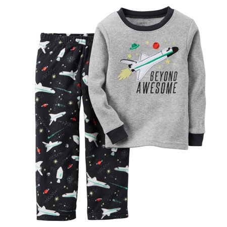 5508e960c Carter's - Carters Baby Boys 2-Piece Thermal & Fleece PJs Beyond Awesome -  Walmart.com