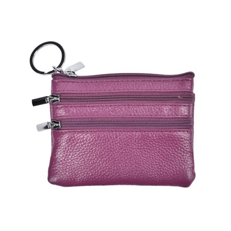 - Womens Mini Coin Purse Wallet Genuine Leather Zipper Coin Pouch with Key Ring for Women  (purple)