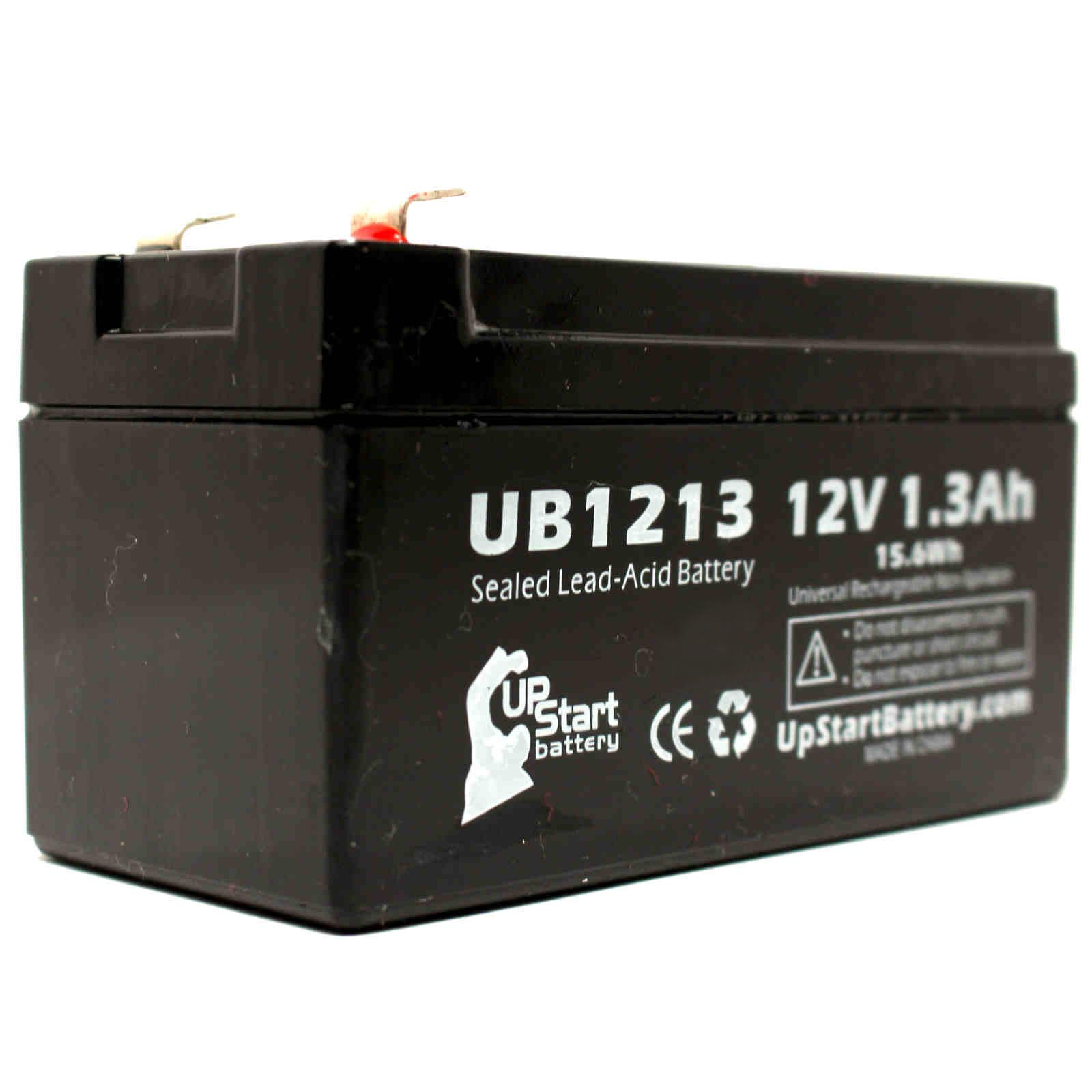2x Pack - Zeus PC1.3-12 Battery Replacement - UB1213 Universal Sealed Lead Acid Battery (12V, 1.3Ah, 1300mAh, F1 Terminal, AGM, SLA) - Includes 4 F1 to F2 Terminal Adapters - image 3 of 4