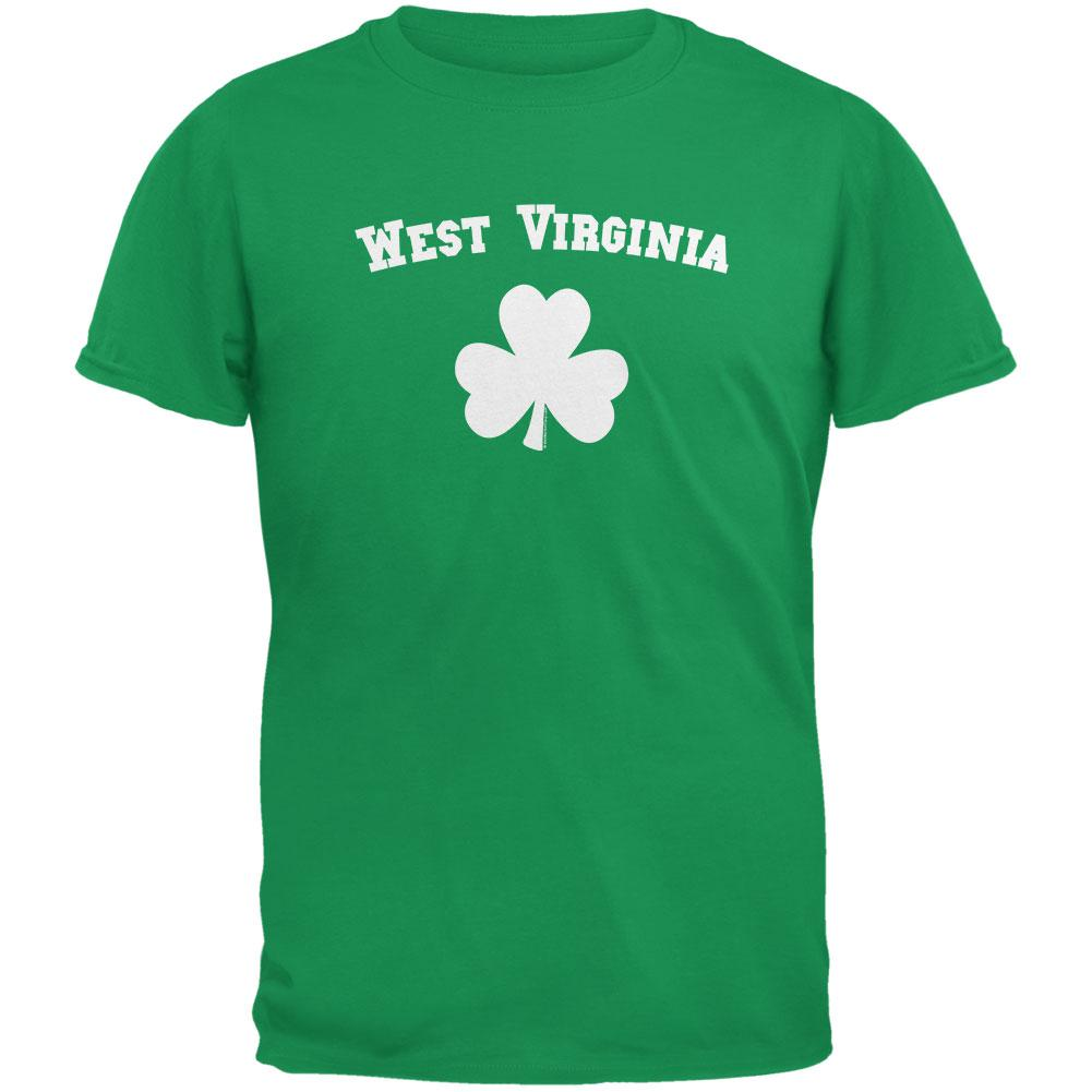 St. Patrick's Day - West Virginia Shamrock Irish Green Adult T-Shirt