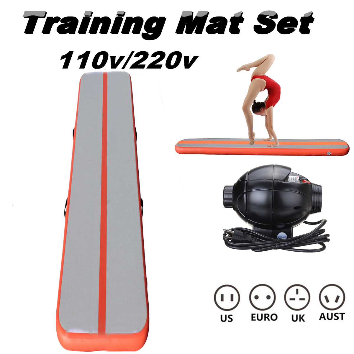 16.4X1.3FT Inflatable Gymnastics Mat Air Track Tumbling Gym Cheerleading +Pump for Home Cheap